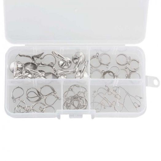 Voordeelpakket - Stainless Steel Oorhangers Box  (5 verschillende soorten) Antiek Zilver