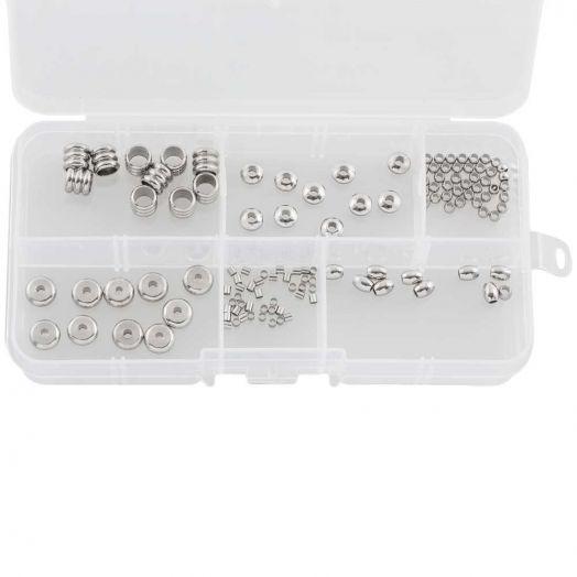 Voordeelpakket - Stainless Steel Kralen Box  (6 verschillende soorten) Antiek Zilver