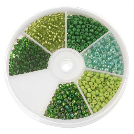 Voordeelpakket - Rocailles glaskralen Green (3 mm) 'Mix Color'