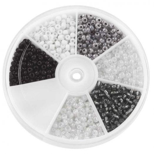 Voordeelpakket - Rocailles Glaskralen White / Black (3 mm) 'Mix Color'
