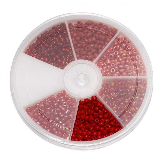 Voordeelpakket - Rocailles glaskralen Red (3 mm) 'Mix Color'