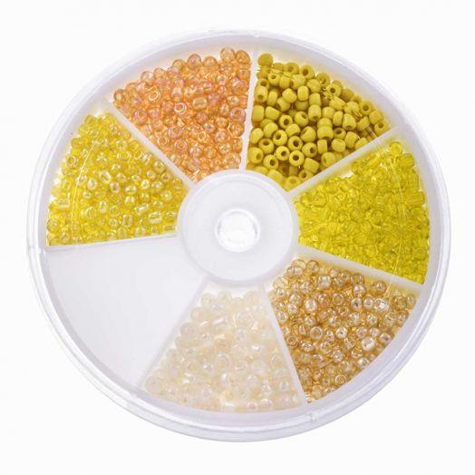 Voordeelpakket - Rocailles glaskralen Yellow (3 mm) 'Mix Color'