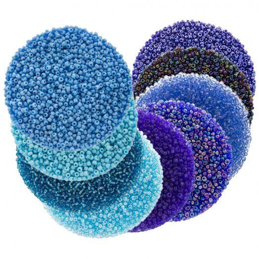 Voordeelpakket - Rocailles (2 mm / 9 x 50 gram) 'Mix Color Blue'