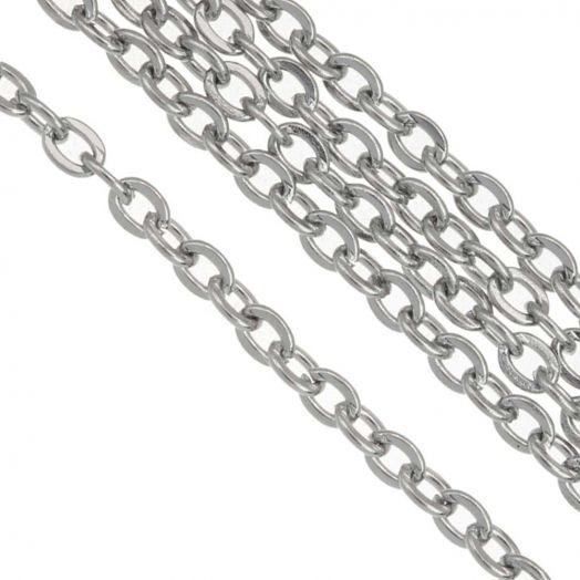 Stainless Steel Jasseron (3 x 2 mm) Antiek Zilver (2.5 Meter)