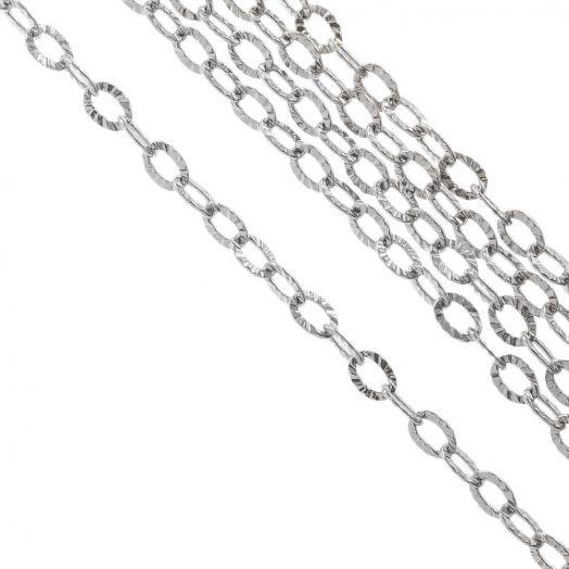 Stainless Steel Jasseron (3.5 x 2.5 x 0.4 mm) Antiek Zilver (10 Meter)