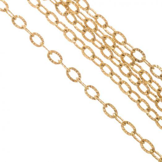 Stainless Steel Jasseron (3.5 x 2.5 x 0.4 mm) Goud (10 Meter)