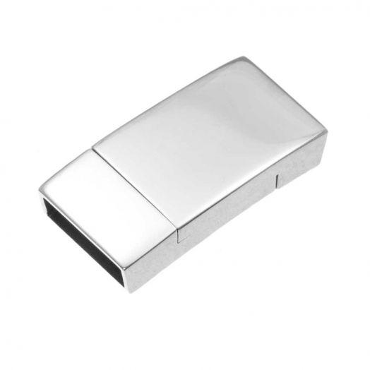 Stainless Steel Magneetslot (Binnenmaat 12 x 3 mm) Antiek Zilver (1 Stuk)