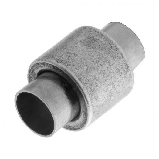 Stainless Steel Magneetslot (Binnenmaat 6 mm) Antiek Zilver (1 Stuk)