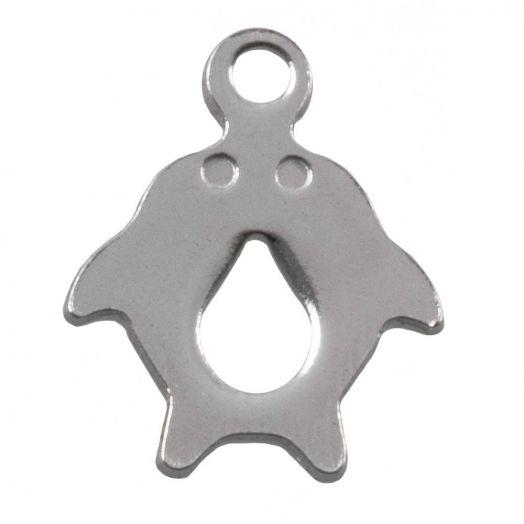 Stainless Steel Bedel Dolfijnen (12.5 x 10 mm) Antiek Zilver (50 Stuks)