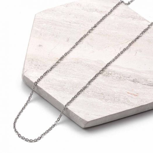 Stainless Steel Ketting Met Kleine Schakels (60 cm) Antiek Zilver (2 stuks)