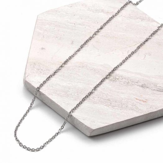 Stainless Steel Ketting Met Kleine Schakels (40 cm) Antiek Zilver (2 stuks)