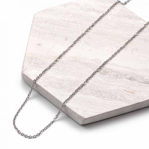 Stainless Steel Ketting Met Kleine Schakels (50 cm) Antiek Zilver (2 stuks)