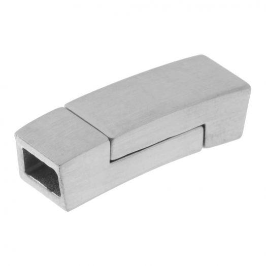 Stainless Steel Magneetslot (Binnenmaat 5.5 x 3 mm) Antiek Zilver (1 Stuk)