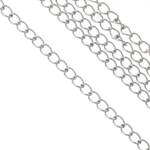 Stainless Steel Jasseron (3.5 x 2.5 x 0.5 mm) Antiek Zilver (20 Meter)