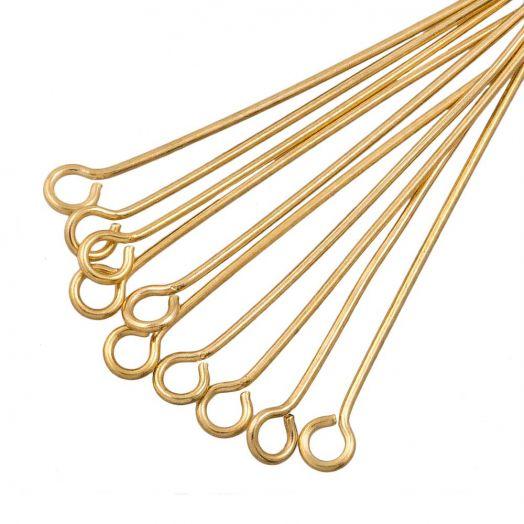 Stainless Steel Kettelstiften (35 mm) Goud (25 Stuks) Dikte 0.7 mm