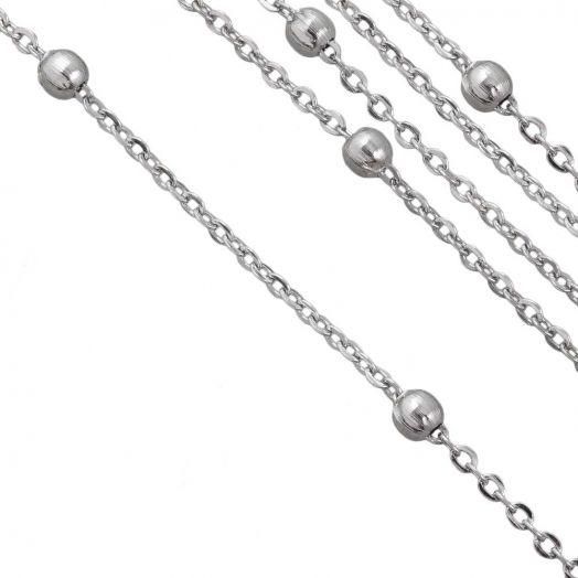 Stainless Steel Jasseron Bol (2 x 1.5 mm) Antiek Zilver (2.5 Meter)