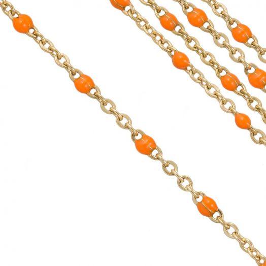 Stainless Steel Jasseron (2 x 1.5 mm) Orange / Goud (2.5 Meter)