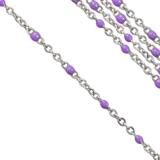 Stainless Steel Jasseron (2 x 1.5 mm) Purple / Antiek Zilver (2.5 Meter)