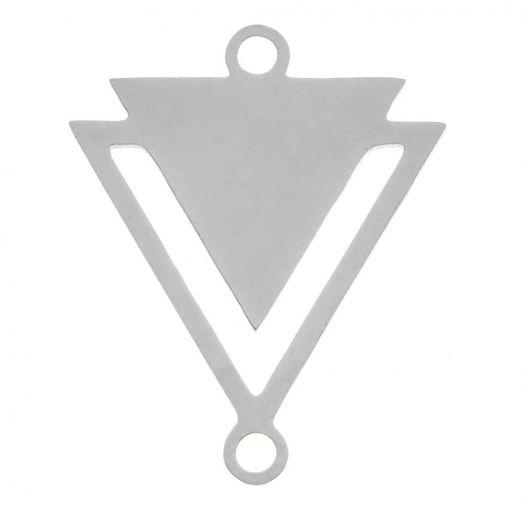 Stainless Steel Tussenstuk 2 Ogen Driekhoek (19 x 16 mm) Antiek Zilver (5 Stuks)