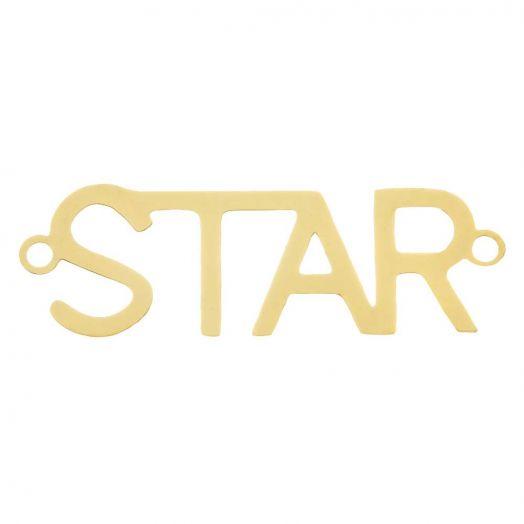 Stainless Steel Tussenstuk 2 Ogen Star (31 x 9 mm) Goud (5 Stuks)