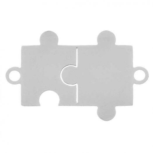 Stainless Steel Tussenstuk 2 Ogen Puzzel (21 x 13 mm) Antiek Zilver (5 Stuks)