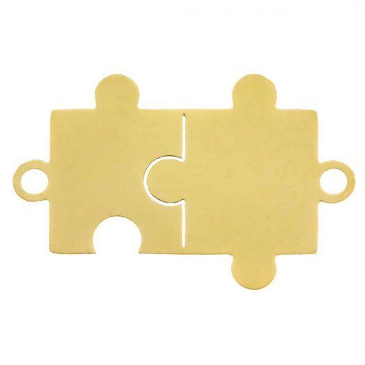 Stainless Steel Tussenstuk 2 Ogen Puzzel (21 x 13 mm) Goud (5 Stuks)