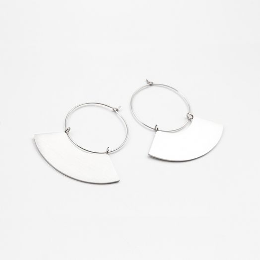 Stainless Steel Oorbellen Waaier (48 mm) Antiek Zilver (2 stuks)