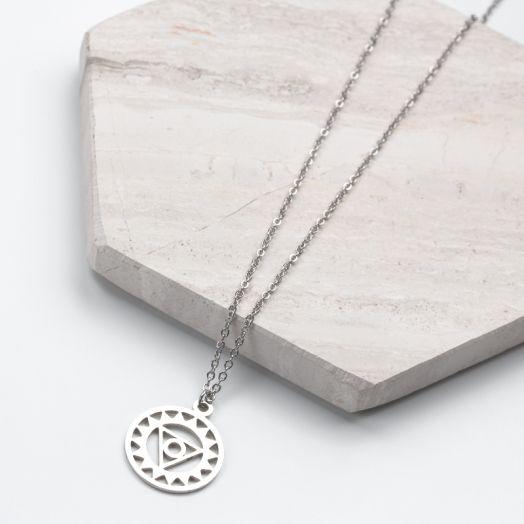 Stainless Steel Ketting Derde Oog (40 cm) Antiek Zilver (1 stuks)