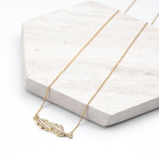 Stainless Steel Ketting Blaadje Met Crystal Strass (48 cm) Goud (1 stuks)