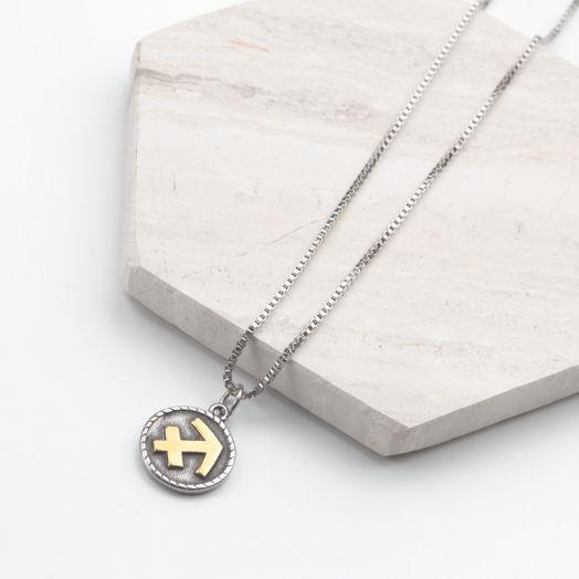 Stainless Steel Ketting Sterrenbeeld Boogschutter (50 cm) Antiek Zilver (1 stuks)