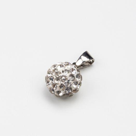 Hanger Shamballa Crystal (10 mm) Antiek Zilver (1 stuks)