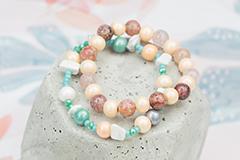 Wooden beads in metallic colors